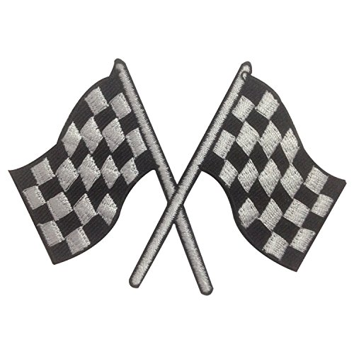 Checkered Chess Finished Point Iron on Patches Embroidered Black