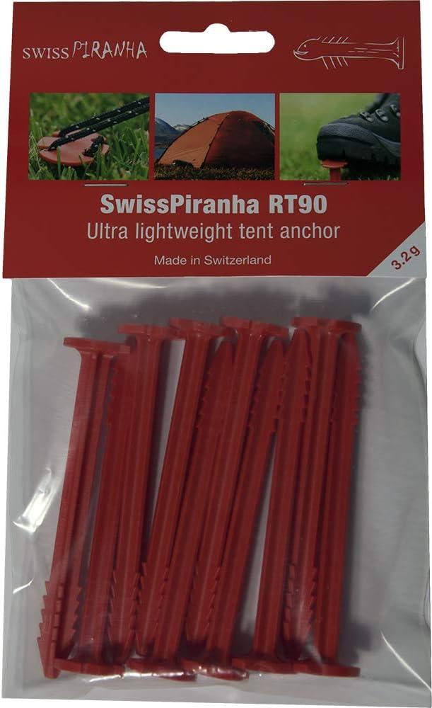 Adult RT90 Tent Pegs Red XS SwissPiranha Unisex Set of 10