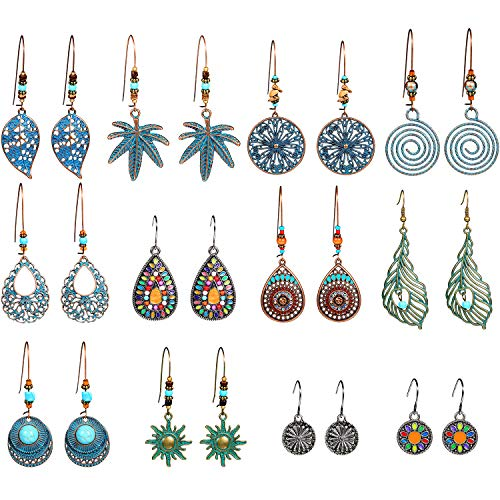 12 Pairs Bohemian Vintage Earrings Dangle Pendant Earrings Set Teardrop Earrings for Women (Style Set 1)