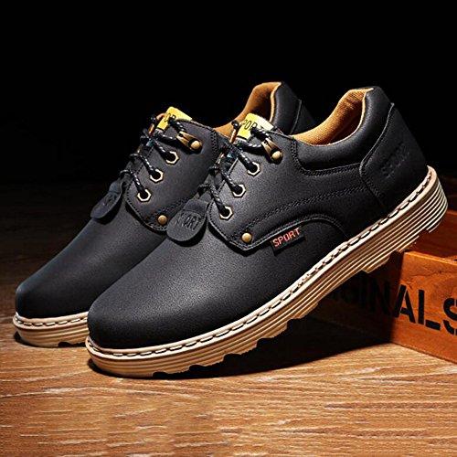 Men's Shoes Feifei Winter Retro Leisure Wear-Resistant Non-Slip Leather Shoes 4 Colors (Color : 01, Size : EU39/UK6/CN39)