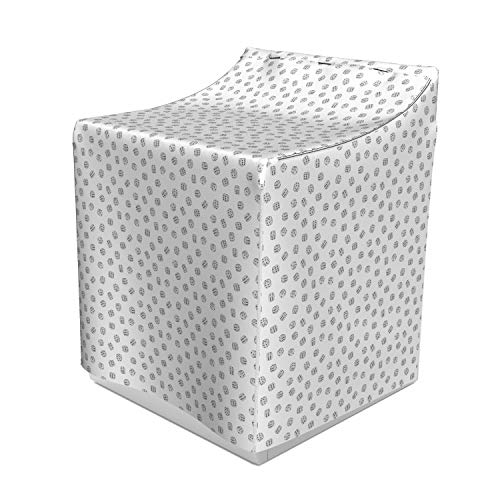 Lunarable Casino Washer Cover, Grey Dice Figures Gambling Theme Random Fortune Square Cubes Monochrome Design, Suitable for Dryer and Washing Machine, 29