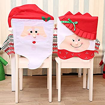 Mr Mrs Santa Claus Christmas Chair Covers Featuring Cute Chairs Back Seat Slip Holiday