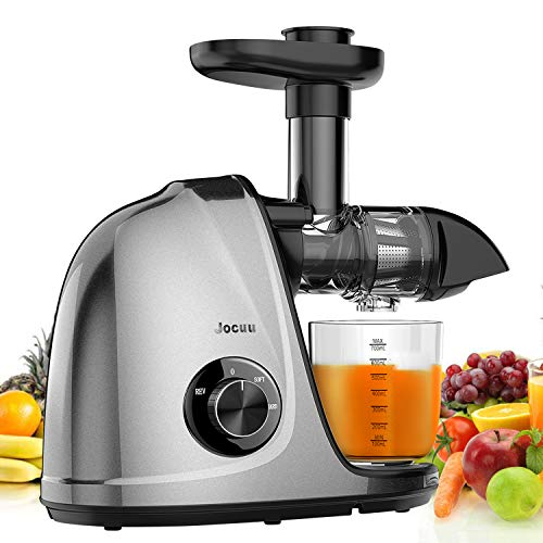 Juicer Machines, Jocuu Slow Masticating Juicer Extractor with 2-Speed Settings, Reverse Function & Quiet Motor for Fruits Vegtables and Wheatgrass, with Brush & Recipes, Easy to Clean, BPA Free