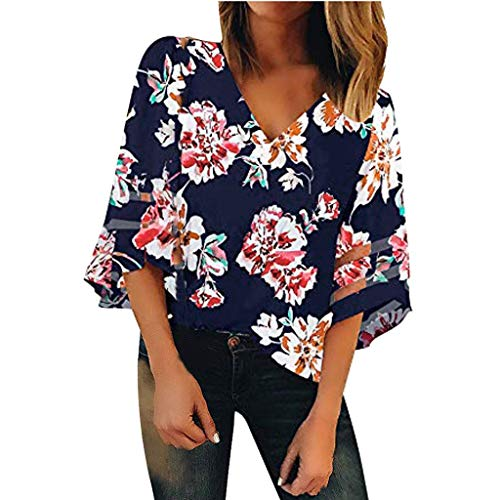 HEJANG Women's Mesh V Neck Floral Print 3/4 Bell Sleeve Casual Tops Blouse T-Shirt Fashion (L, Navy2)]()