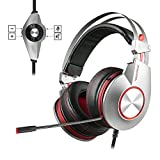 PC USB Gaming Headset with Microphone Mute PS4 Computer Headphones Surround Sound Wired Over Ear In-Line Volume Control Play Pause LED Ring Light for Laptop, Mac, Online Chat, Video Conference -Gray
