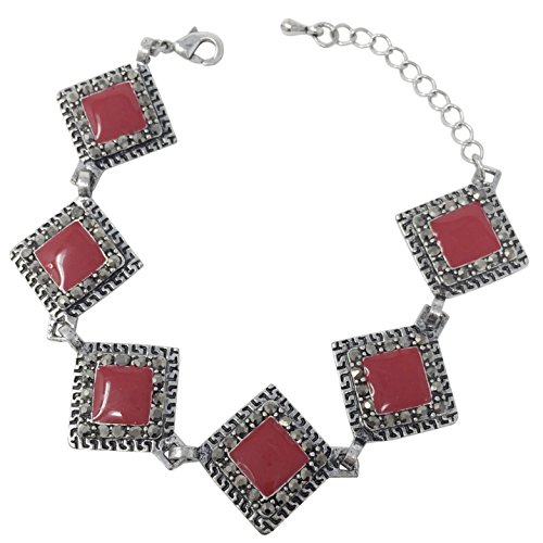 Gypsy Jewels Vintage Look Hematite Grey Rhinestone Silver Tone Unique Clasp Bracelet - Assorted Colors (Red Square) ()