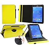 Emartbuy Pipo W4S Dual Boot Tablet PC 8 Inch Universal ( 7 - 8 Inch ) Padded Design Yellow 360 Degree Rotating Stand Folio Wallet Case Cover + Black Stylus
