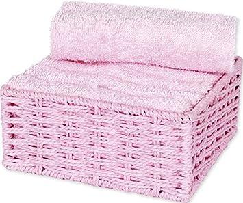 Autrefois Juego de 6 toallas para invitados con cesta, 30 x 30 cm, rosa pastel, 45 x 30 cm: Amazon.es: Hogar