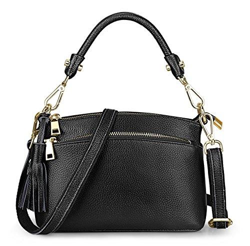 S-ZONE Women's Small Genuine Leather Multi Zipper Crossbody Bag Top-handle Handbag Shoulder Bag Satchel (Multi Pocket Top Handle Satchel)