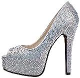 Garyline Women Peep Toe Platform Beads High Heels Wedding Pumps Crystal Dress Heels Silver9.5 B(M) US