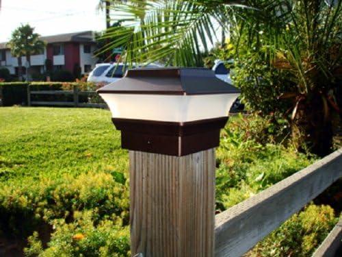 2pc Solar Power Garden Light Copper Color Square Deck Post Fence Mount 4 x4 Yard Lamp