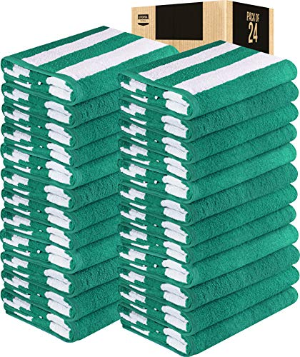 Utopia Towels Cabana Stripe Beach Towels Bulk (24 Pack, 30 x 60 Inches)- Large Pool Towels - (Green)