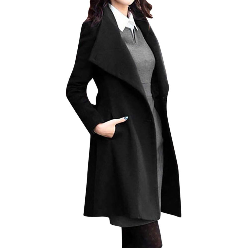 ❤️Manteau Veste Femme Blouson Amlaiworld Femmes Hiver Bouton Manteau en Laine à Manches Longues et Ceinture Manteau de Laine Revers Veste de tranchée Pardessus