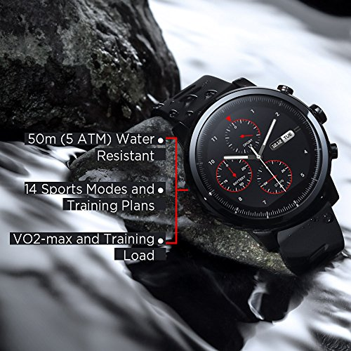 517u4j7GBOL - Amazfit Stratos Multisport Smartwatch by Huami with VO2max, All-day Heart Rate and Activity Tracking, GPS, 5 ATM Water Resistance, Phone-free Music, US Service and Warranty (A1619, Black)