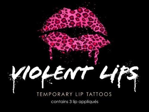Violent Lips - The Pink Cheetah Glitteratti - Set of 3 Temporary Lip Appliques (Cheetah Print Lip Tattoos)