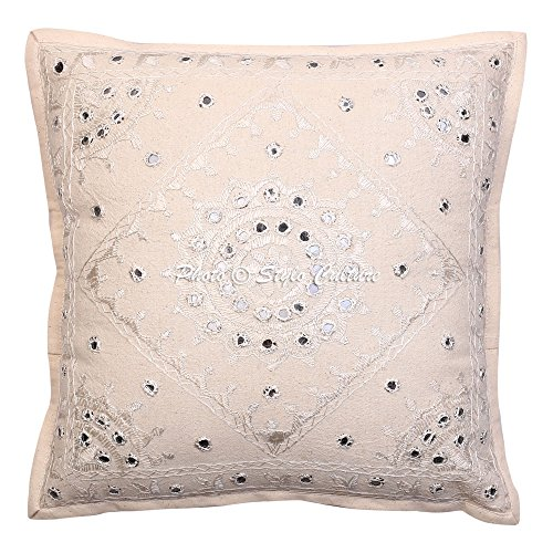 Stylo Culture Indian Cotton Pillow Cover 40x40cm Off White Cushion Cover 16x16 Mirror Work Embroidered Cotton Abstract Square Pillowcase By by Stylo Culture