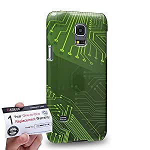 Case88 [Samsung Galaxy S5 Mini] 3D impresa Carcasa/Funda dura para & Tarjeta de garantía - Art Fashion Green 3D Standard Circuit Board