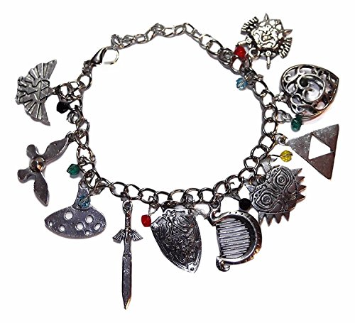 LEGEND OF ZELDA Silvertone Assorted Themed Charm BRACELET]()