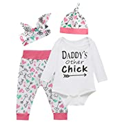 Baby Girls' Outfit Set Daddy Other's chick Long Sleeve Bodysuit (White, 3-6 Months)