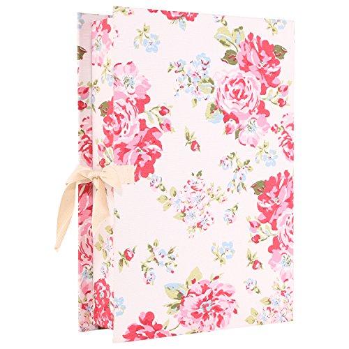 Paperboard Box Files - Neoviva Canvas Coating Paperboard Desktop File Box for Document Organization, Floral Lollipop Red