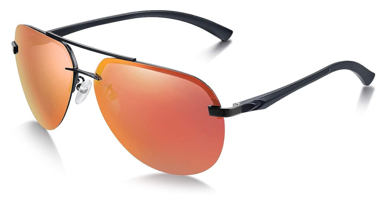 WHCREAT Occhiali da Sole Polarizzati da Uomo Stile Pilot con Cerniere a Molla per la Guida