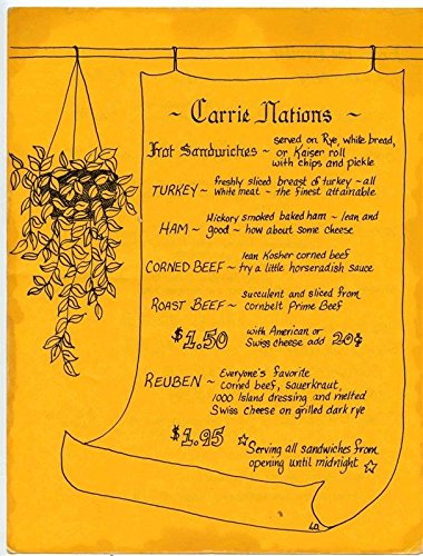 Carrie Nations Menu Florence Mall in Florence South Carolina. -