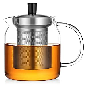 Ecooe Glass Teapot with Stainless Steel Infuser Stovetop Safe 600 ml Loose Leaf Tea Pot