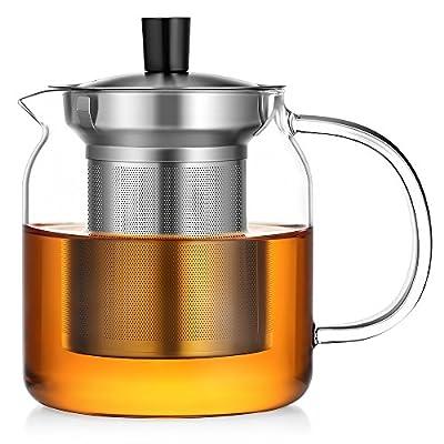 Ecooe 50 Ounce Tea Glass Teapot Safe Leaf Tea Pot 304 Stainless Steel Infuser Glass Tea Maker Kettle