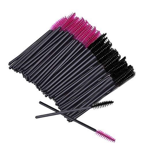 BTYMS 200Pcs Disposable Eyelash Mascara Brushes Wands Applicator Makeup Brush Pink and Black