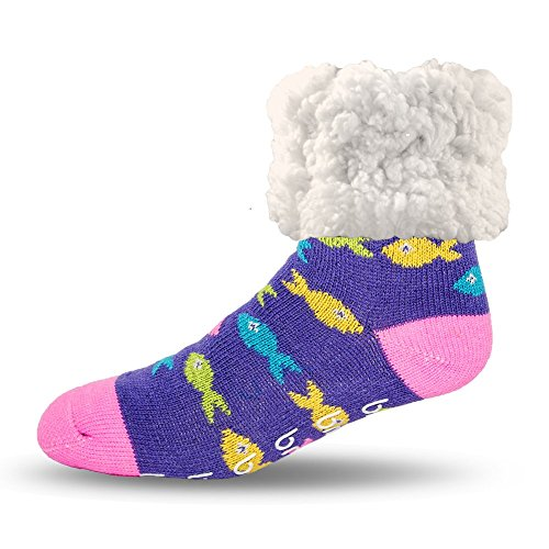 Pudus multicolored fish adult regular cozy winter classic slipper socks with grippers
