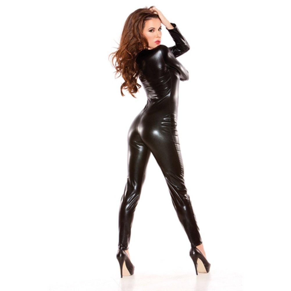 Donne Body pelle sexy V collare tuta performance stage abbigliamento,S