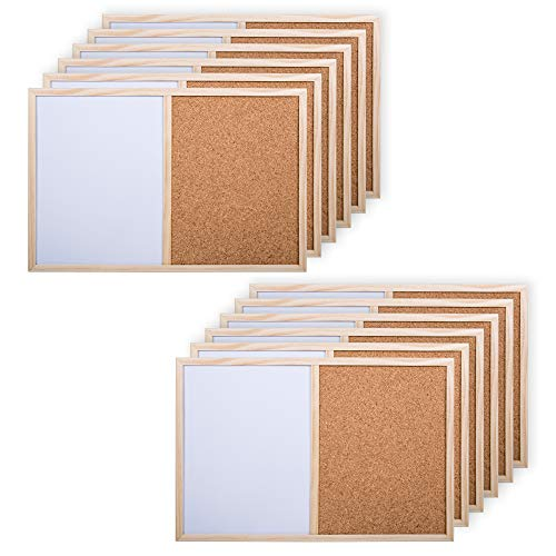 Office Works, Small Half White and Cork Board, 11.5 x 17.5 inches, Pack of 12, White, Beige ()