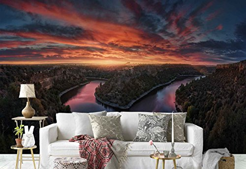 (Photo wallpaper wall mural - River Canal Curve Flaming Sky - Theme Lakes - L - 8ft 4in x 6ft (WxH) - 2 Pieces - Printed on 130gsm Non-Woven Paper - 1X-1191731V4)