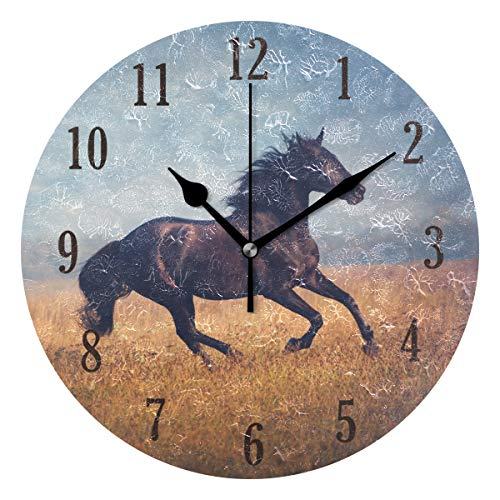 senya Wall Clock, Round Black Horse Silent Clock Decorative, Battery Operated Easy to Read for Indoor Living Room Bedroom