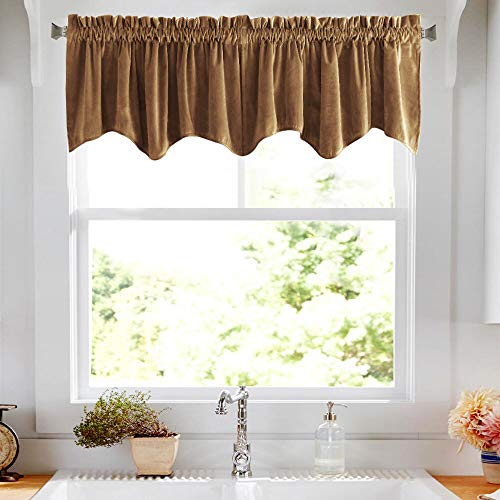 jinchan Room Darkening Velvet Curtain Weave-Shape Valance Window Drapes for Bedroom, Thermal Insulated Rod Pocket Curtain Panels for Living Room 1 Panel, 18