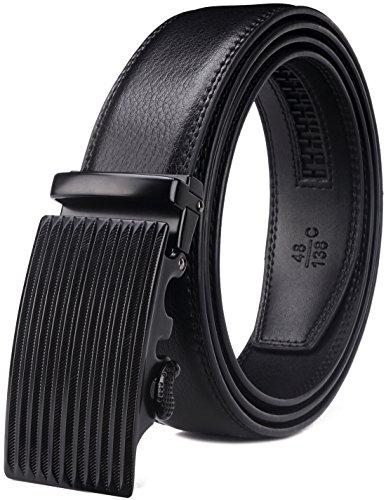 Bulliant Men Belt, Leather Ratchet Belt for Men with Sliding Buckle 1 3/8