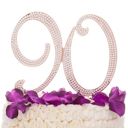 Ella Celebration 90 Cake Topper for 90th Birthday - Rhinestone Number Party Supplies & Decoration Ideas (Rose Gold)