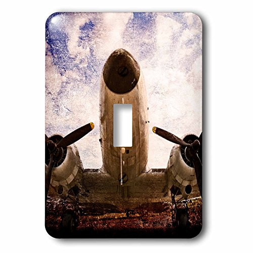 3dRose Alexis Photography - Transport Air - Abstracts of aviation - Vintage double engine aircraft, stylized photo - Light Switch Covers - single toggle switch (lsp_271983_1) by 3dRose