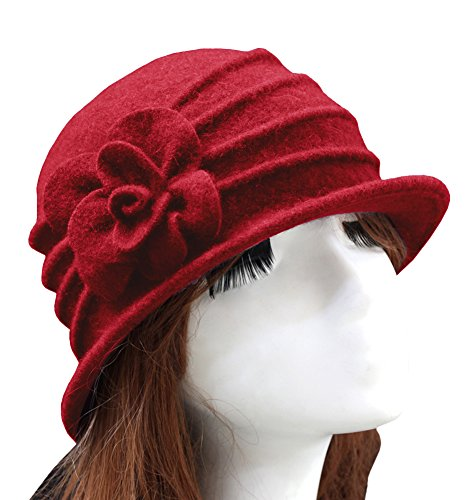 Urban CoCo Women's Floral Trimmed Wool Blend Cloche Winter Hat (Red-Model C) by Urban CoCo (Image #1)