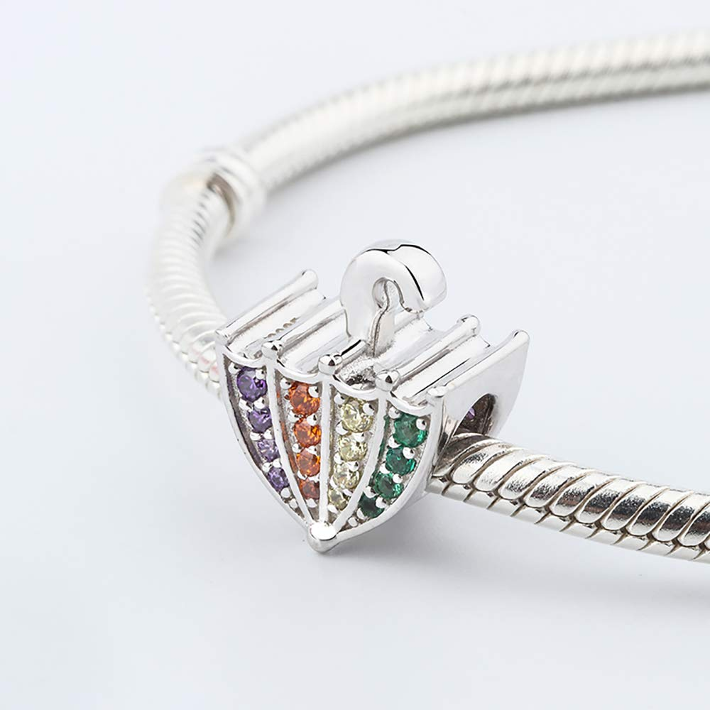 stepforward 925 Sterling Silver Crystal Charm Fit European Bracelet and Necklace Big Hole Shinning Colorful Bracelet Bead Best Birthday Gifts