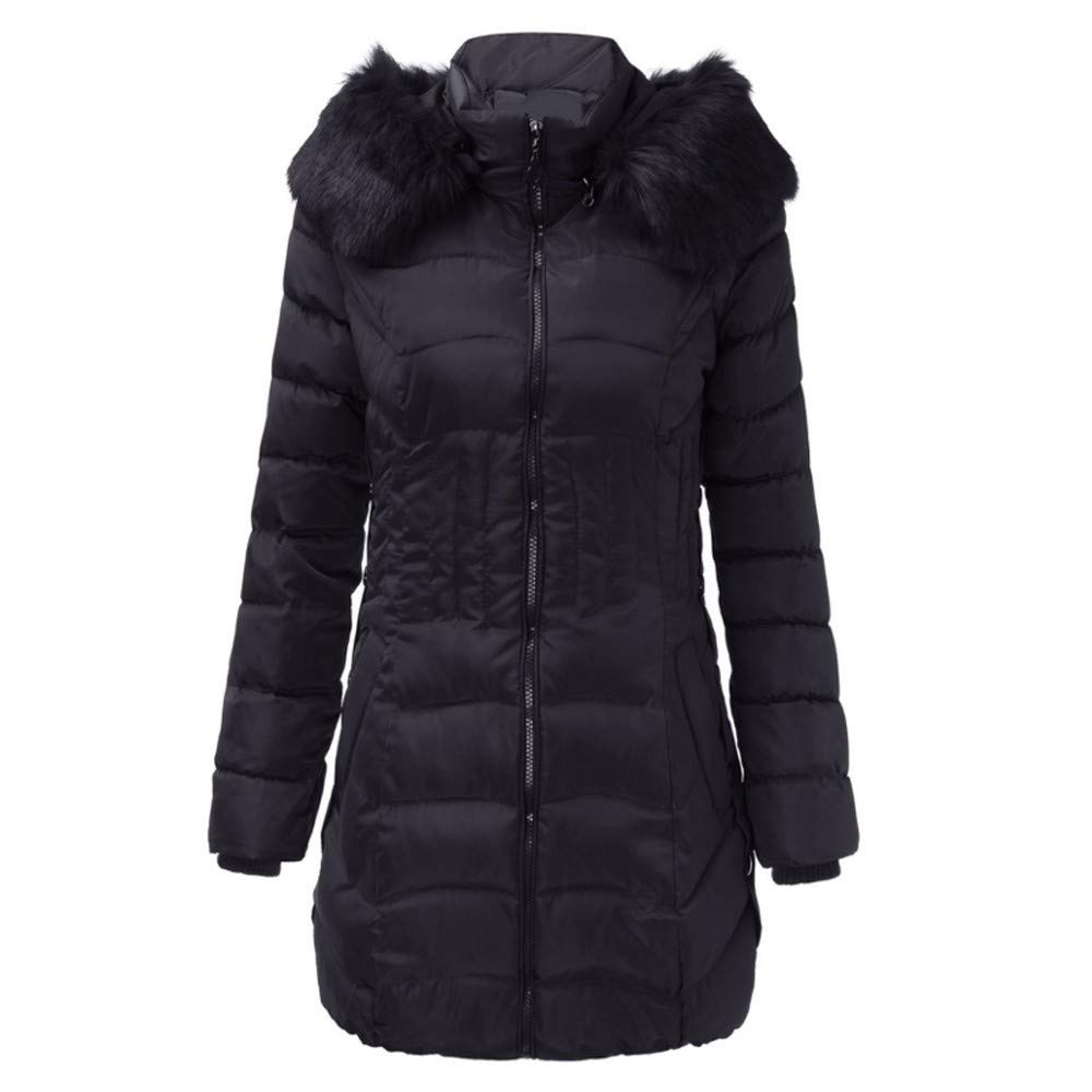 CHIDY Womens Winter Fashion Faux Fur Hooded Slim Waisted Down Jacket Warm Quilted Parka Coat