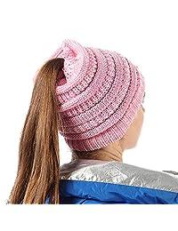 FLY HAWK Women Girl Stretch Knit Beanie Tail Hat Messy High Ponytail Winter Skull Cap
