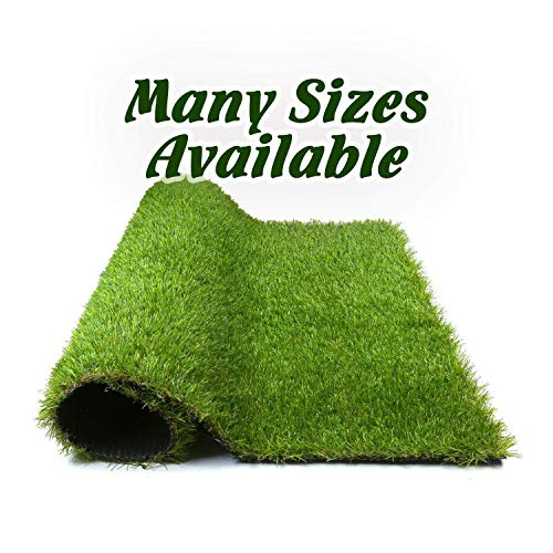 AZC 9'x12' Synthetic Artificial Realistic Fake Grass Thick Lawn Pet Turf-Perfect for Indoor/Outdoor Decor, 9' x 12', Green