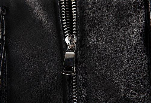 SMITHROAD Herren Lederjacke Übergangsjacke Kapuzenjacke Hooded Bikerjacke Streetwear Style mit Schulterriegel M bis 3XL