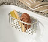 mDesign Kitchen Sink Suction Holder for Sponges, Scrub Brushes, Soap - Pack of 2, Satin