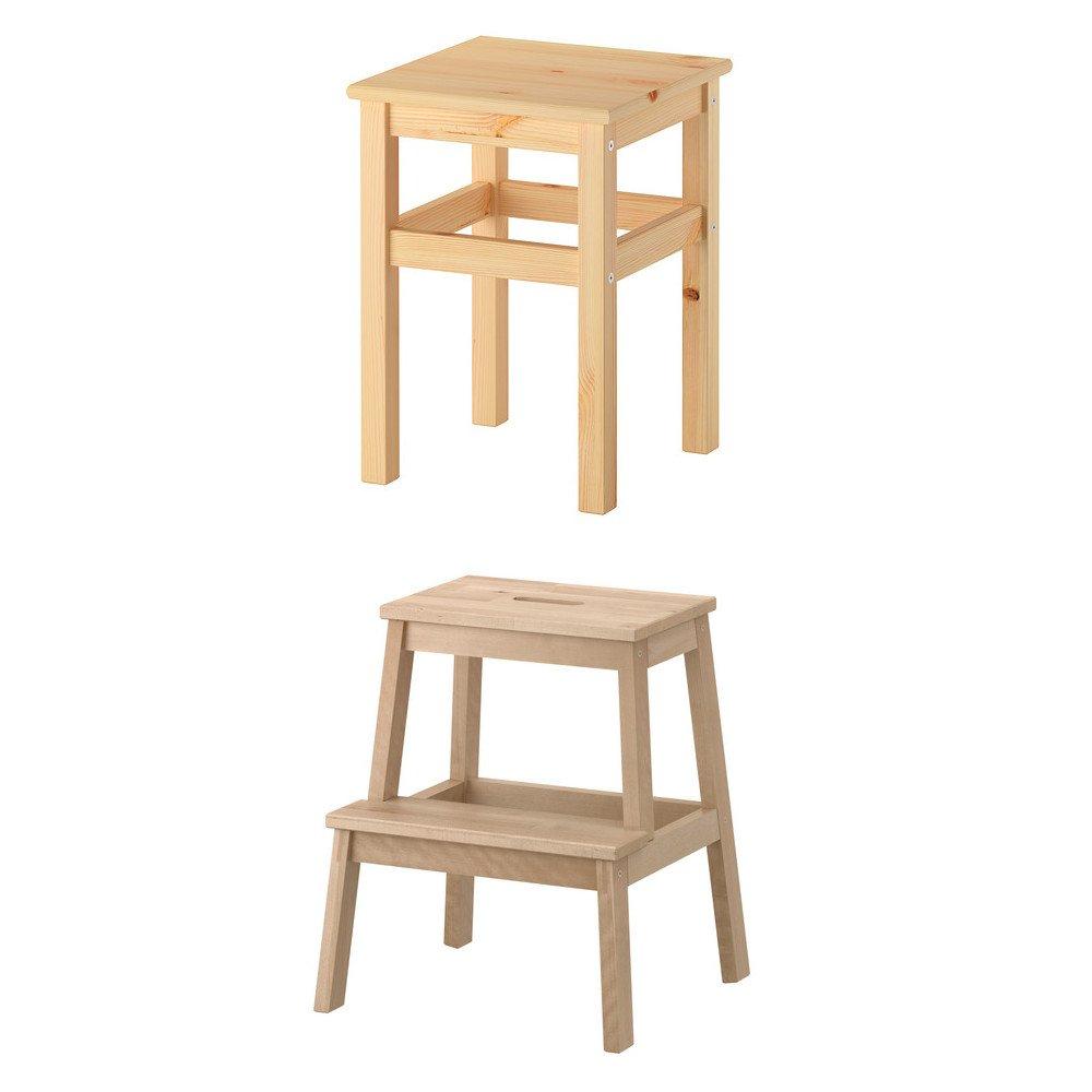 Unbekannt IKEA BEKVÄM Tritthocker und ODDVAR Hocker aus Massivholz