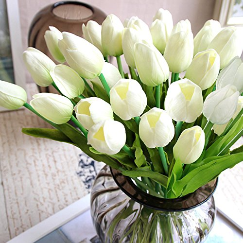 StillCool Artificial Flowers Tulip 12pc/set Pu Stunning Holland Mini Tulip Real Touch Wedding Flower Artificial Flowers Latex Plants for Party Home Hotel Event Christmas Gift Decoration (White) (Tulip Centerpiece)