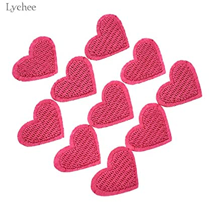 6d37dbd6a269 Amazon.com  Cacys-Store - 10pcs Pink Heart Patch For Clothing Sew On ...