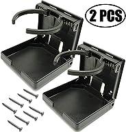 TIHOOD 2PCS Adjustable Folding Drink Holder with Screws/Adjustable Cup Holder for Marine/Boat/Caravan/Car (Bla