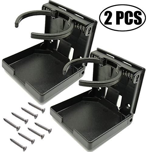 TIHOOD 2PCS Adjustable Folding Drink Holder with Screws/Adjustable Cup Holder for Marine/Boat/Caravan/Car (Black)